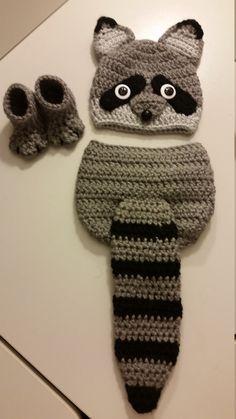 Crochet Newborn Baby Girl or Boy Woodland Raccoon Costume – Photo Prop – Beanie …