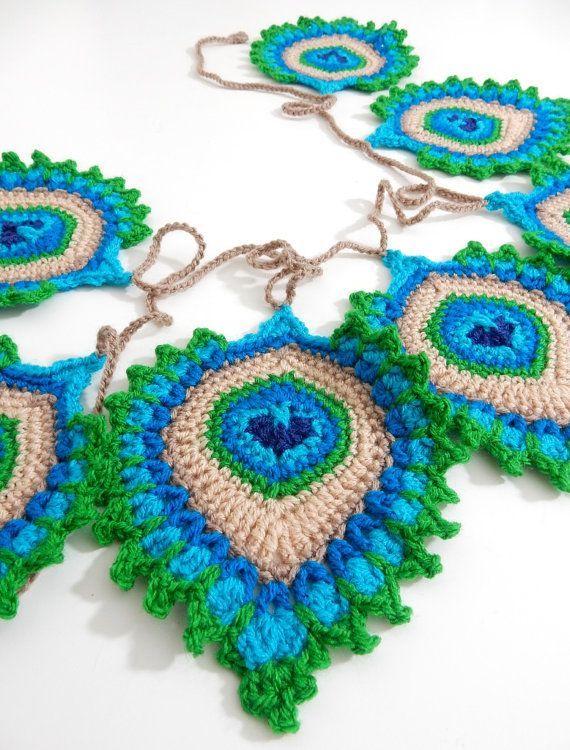"Crochet PATTERN Peacock Feather ""Nemali"" Motif, Coaster and Garland – Photo Tutorial – INTERMEDIATE level- Original Design"