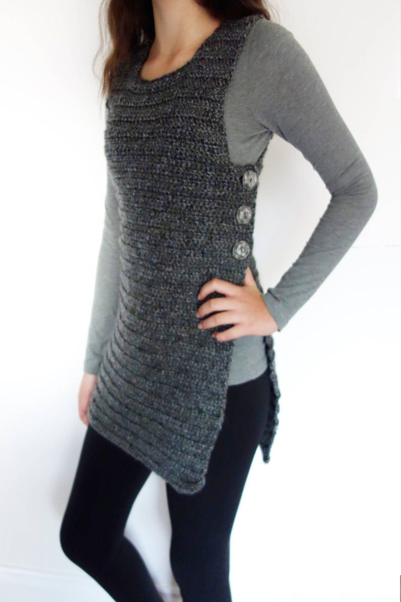 Crochet Pattern – Buttoned Vest/Side Close Shrug/ Ribbed Buttoned Sweater/ Sleeveless Cardigan