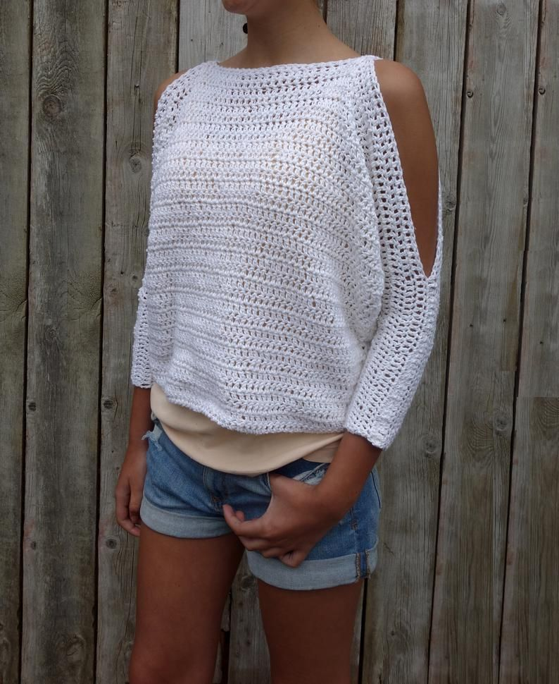 Crochet Pattern – Lily of the Valley Sweater/ Open Shoulders Cropped Jumper/Easy Handmade Top/ Oversized Pullover