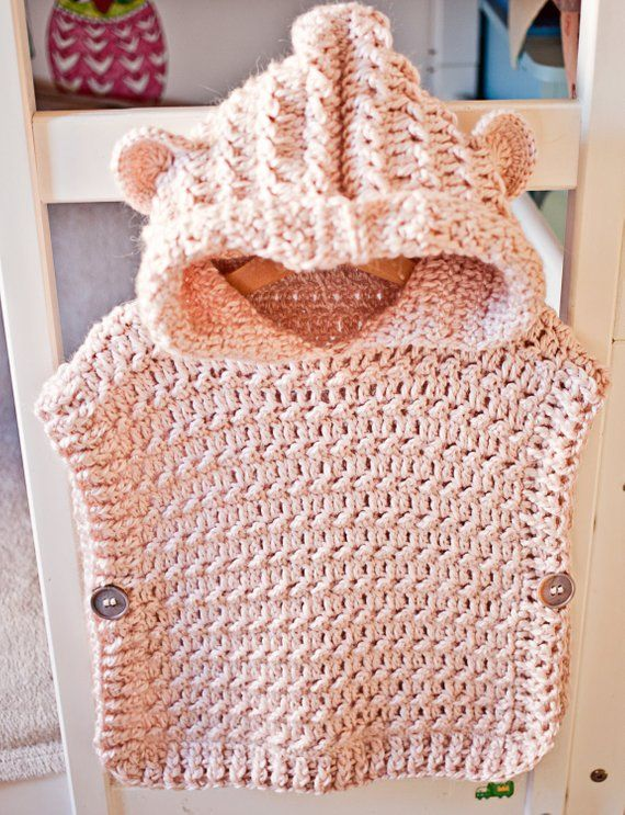 Crochet Pullover PATTERN – Hooded Poncho – Pullover (sizes from 1-2y up to Adult XL) – Instant download