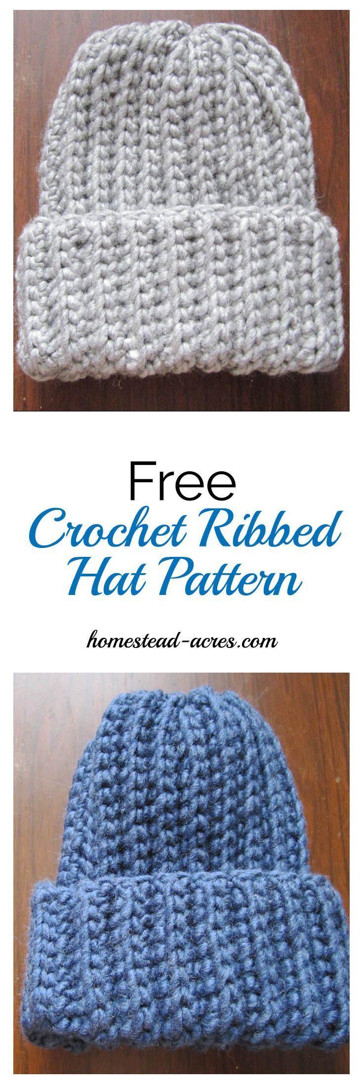 Crochet Ribbed Hat Pattern – Crochet and Knitting Patterns