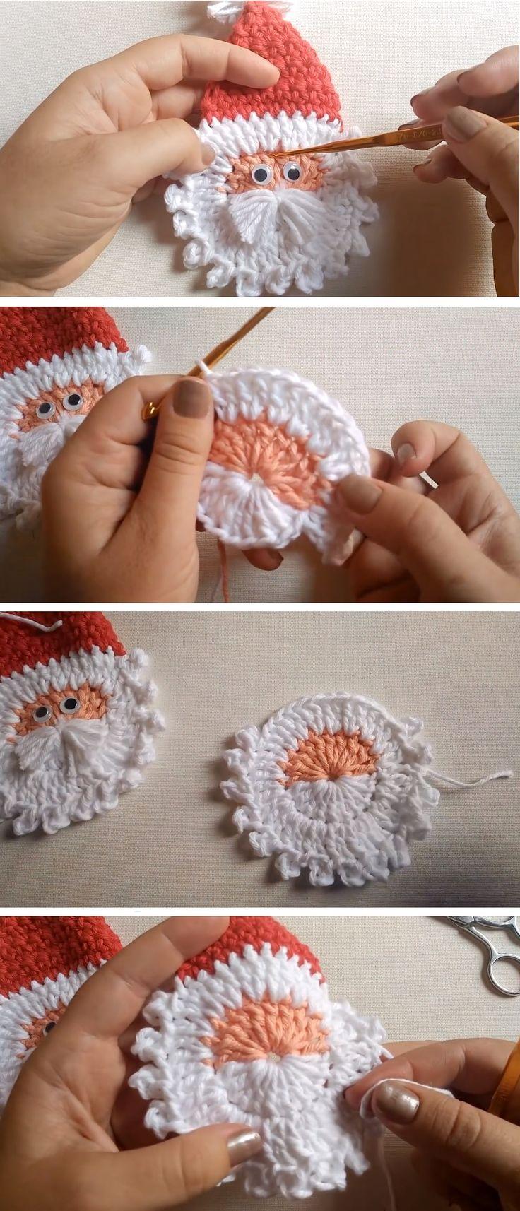 Crochet Santa Applique – Christmas Pattern – Crochet and Knitting Patterns