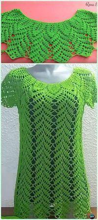 Crochet Women Pullover Sweater Free Patterns [Tops & Tunics]