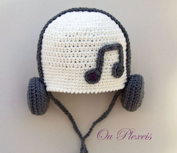 Crochet baby hat hat with headphones crochet baby by Ouplexeis
