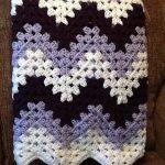 Crochet blanket afghan chevron granny ripple purple and lilac Handmade by DonnasPinsandNeedles ready to ship