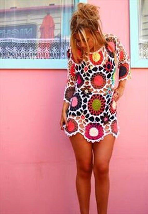 Crochet colorful pullover pattern,detailed tutorial,crochet boho woman jumper,crochet beach cover up,crochet summer loose top,crochet hippie