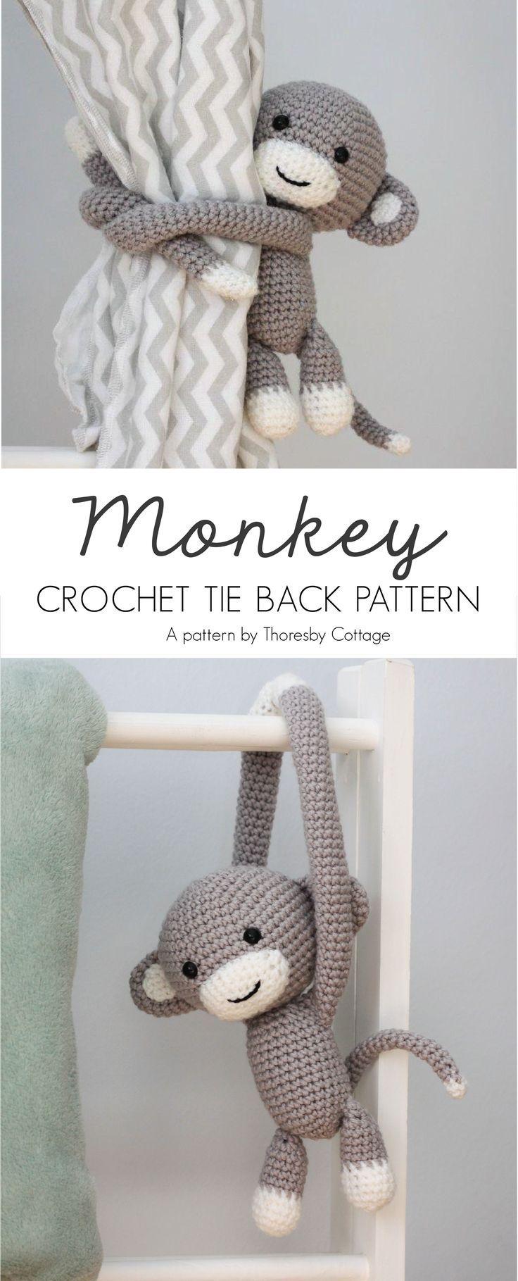 Crochet monkey curtain tie back crochet pattern
