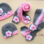 Crochet set hat and scarf, crochet baby girl hat and scarf, crochet grey and pink beanie and scarf, toddler hat with flowers-butterfly