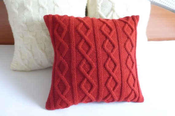 Custom Cable Knit Pillow Case Red, Throw Pillow, Carmine Pillow Cover, Cable Knit Cushion Cover, Decorative Couch Pillow, Knit Pillow Sham