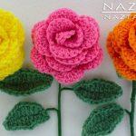 DIY Learn How to Crochet a Flower - Rose Bouquet Flowers Leaf Leaves Stem
