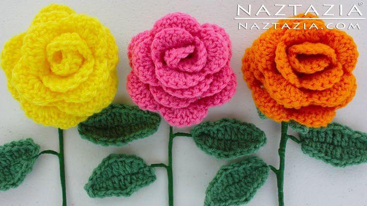 DIY Learn How to Crochet a Flower – Rose Bouquet Flowers Leaf Leaves Stem