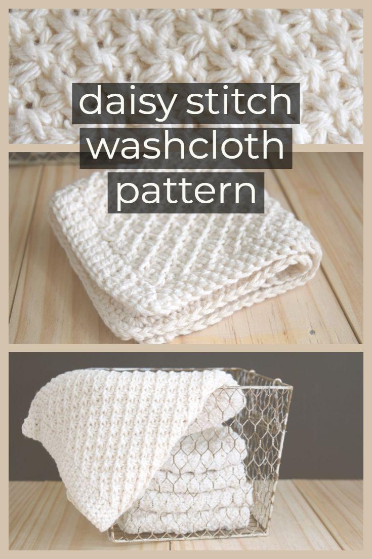 Daisy Stitch Knit Washcloth Pattern