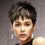 Dark Brunette Pixie Cut with Razor Cut Bangs and Blonde Highlights