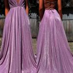 Deep V-Neck Long Prom Dresses,Floor Length Open Back Evening Dresses