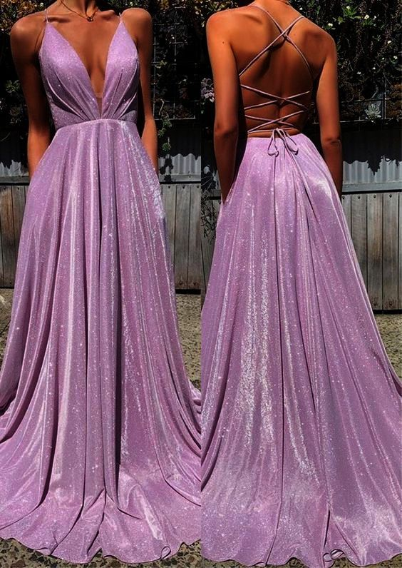 Deep V-Neck Long Prom Dresses,Floor Length Open Back Evening Dresses