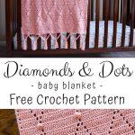 Diamonds & Dots Baby Blanket Crochet Pattern : Traveling Hook Creative