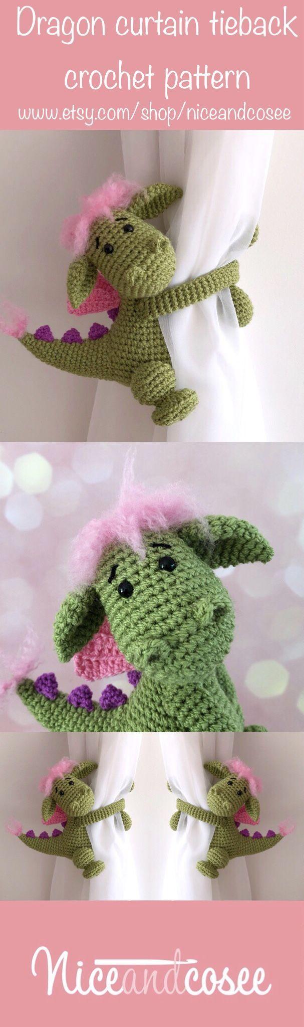 Dragon curtain tie back crochet PATTERN, tieback, left or right side crochet pattern PDF instant download amigurumi PATTERN – Love Amigurumi