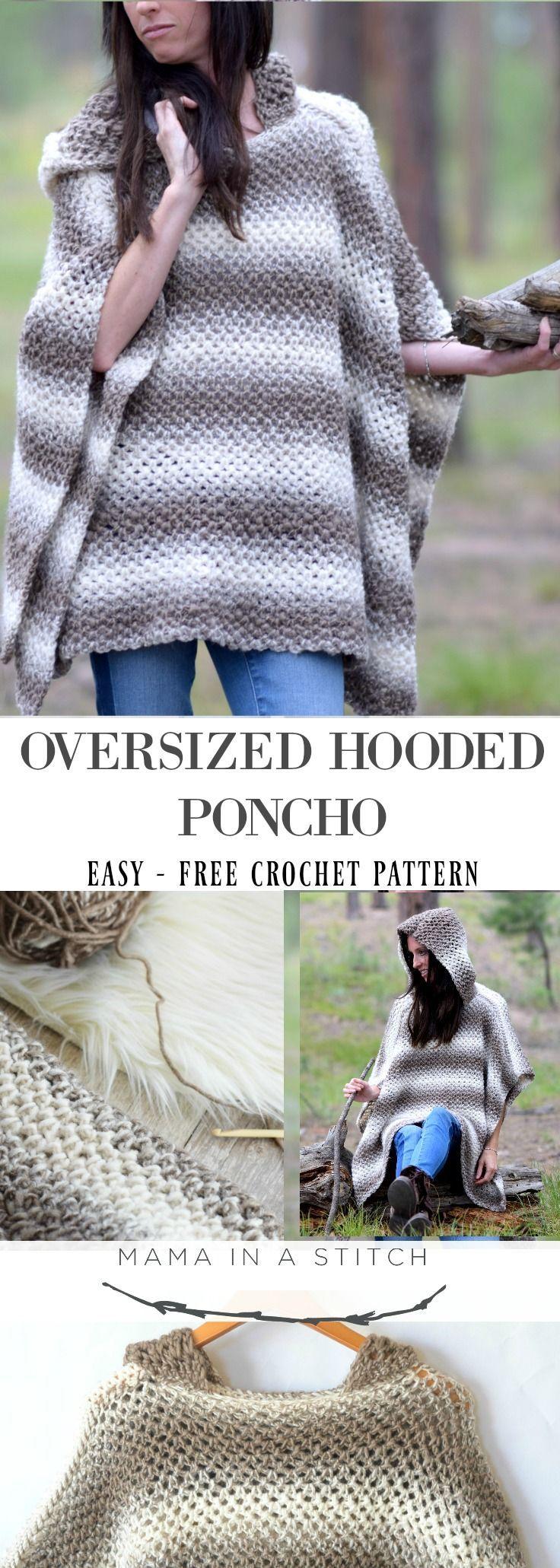 Driftwood Oversized Crochet Hooded Poncho Pattern