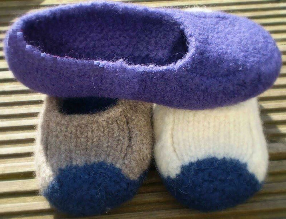 Duffers, 19 Row Felted Slippers Knitting pattern by Knit & Purl Makes