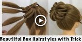 Easy Bun Hairstyles with Trick   Beautiful Hairstyle for Wedding & party #hair #…