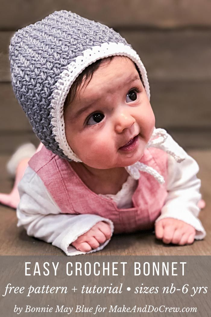 Easy Crochet Baby Bonnet – free modern pattern + tutorial (newborn-6 yrs)