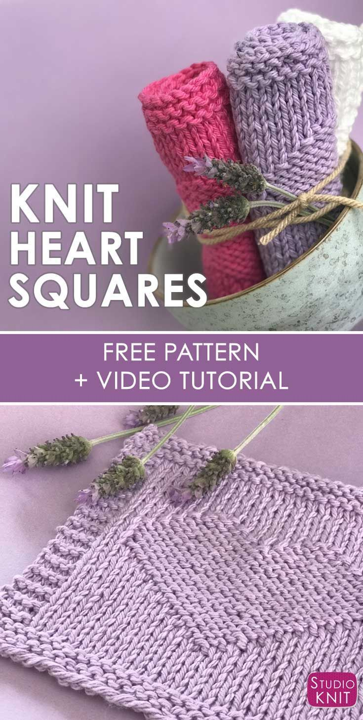 Easy Heart Knit Stitch Pattern by Studio Knit for Beginners