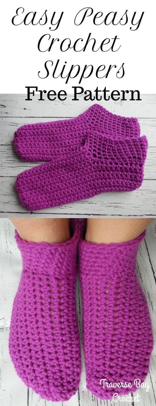 Easy peasy adult crochet slippers –