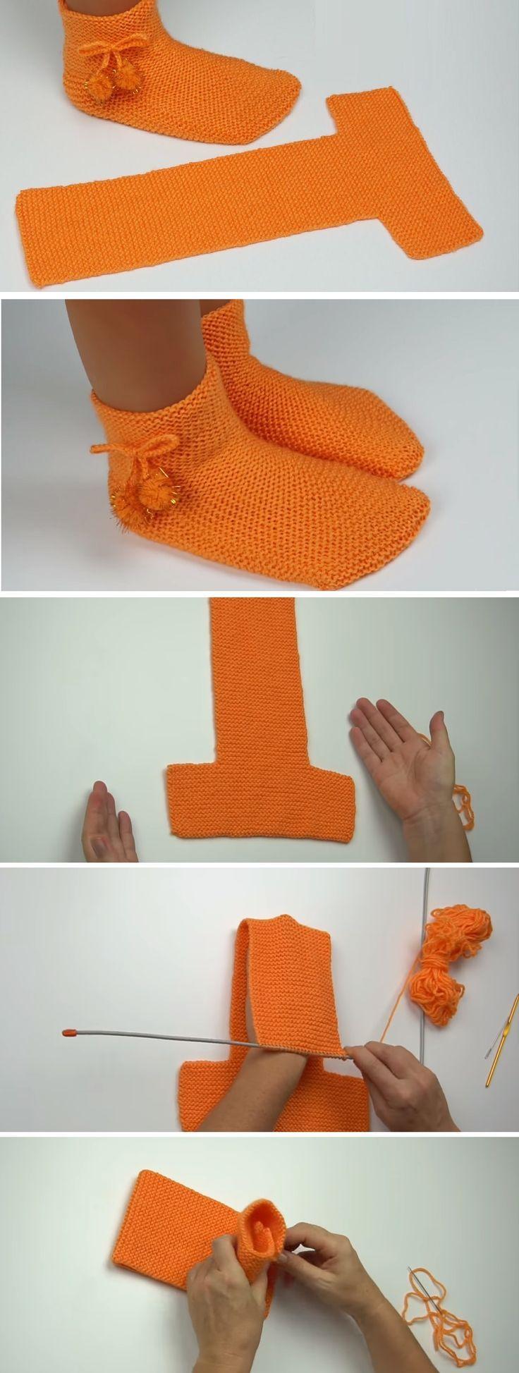 Easy to Fold Slippers – Tutorial Crochet/Knit