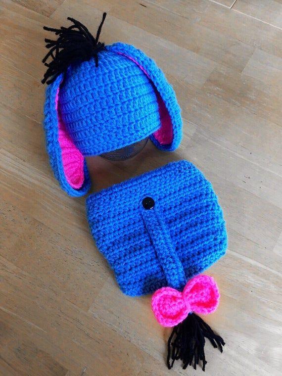 Eeyore Hat Outfit Baby Boy Girl Disney Winnie the Pooh Newborn Hospital Hat Crochet Knit Outfit Hat