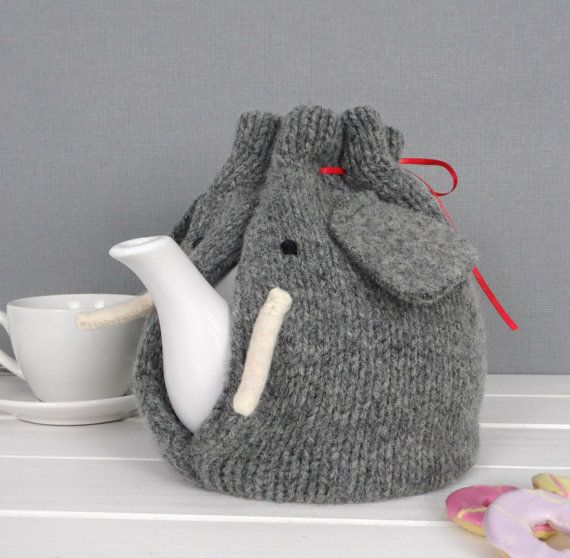 Elephant Tea Cosy, knitted from pure wool in Scotland, tea Cozy, elephant gift, perfect Tea lovers Gift! Ideal Christmas present