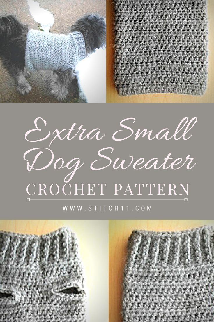 Extra Small Dog Sweater Crochet Pattern; Here's a comfy crocheted sweater for yo…