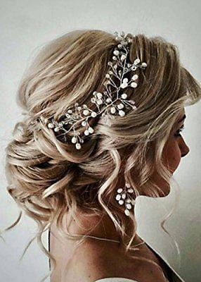FXmimior Bride Hair Accessories Crystal Hair Vine Earrings Sets Headband Wedding