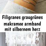 Filigranes graugrünes makramee armband mit silbernem herz