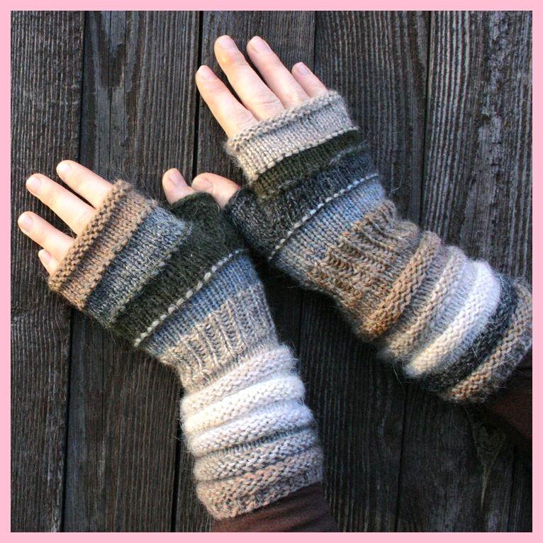 Fingerlose Handschuhe in Naturfarben stricken. ,  #fingerlose #handschuhe #naturfarben #stric…