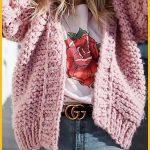 Frauen rosa gestrickte Blätterteig Langarm Casual Cardigan - One Size-  #Blätt...