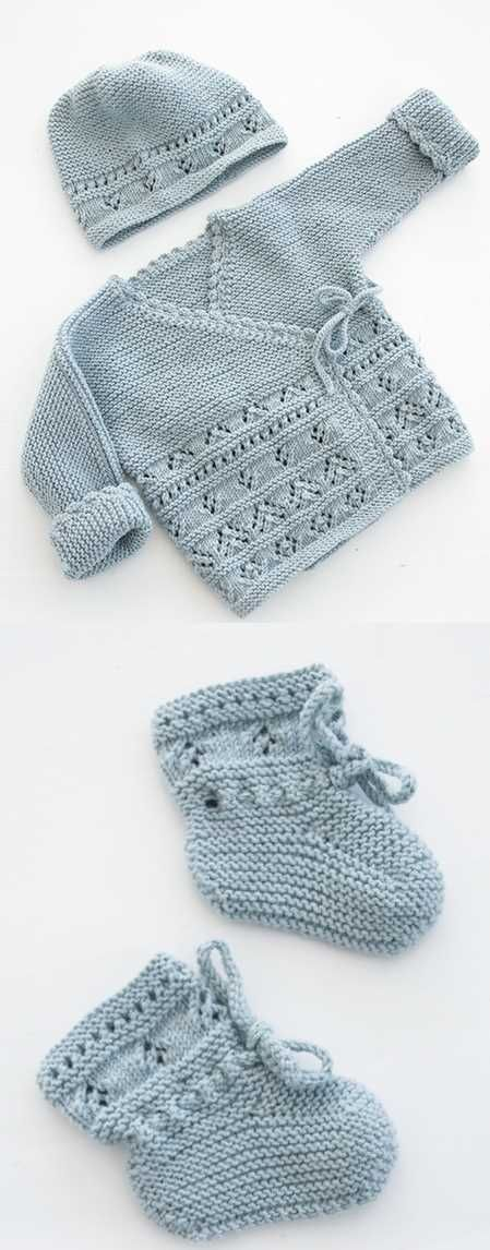 Free Baby Knitting Pattern for Jacket and Booties