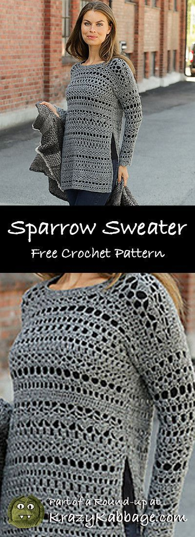 Free Crochet Sweater Patterns – Krazy Kabbage #crochet #freecrochetpattern #sw…