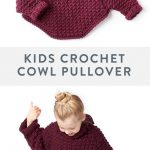 Free Girl's Crochet Pullover Pattern | This beginner friendly crochet pullover is a perfect layering piece for your little one! Working a simple crochet stitch and some basic shaping this sweater is great for beginners. Crocheted in super soft Bernat Roving, this easy to care for yarn makes this sweater a staple for winter. #yarnspirations #bernatroving #kidscrochetpatterns #crochet #freecrochetpatterns