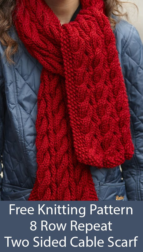 Free Knitting Pattern for 8 Row Repeat Two Sided Cable Scarf