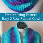 Free Knitting Pattern for Easy 2 Row Repeat Broken Rib Cowl