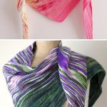 Free Knitting Pattern for Easy Arlequin Shawl - Triangular shaped shawl with col...