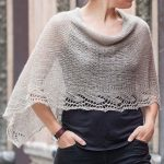 Free Knitting Pattern for Emilia Poncho - This lace edged poncho is knit as a re...