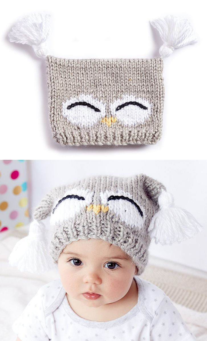 Free Knitting Pattern for I'm a Hoot Hat – This pattern for an owl baby hat come…