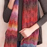 Free Knitting Pattern for Lace Stripe Scarf - Colorful scarf knit in a lace stit...