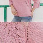 Free Knitting Pattern for a Ladies Lace Raglan Sweater