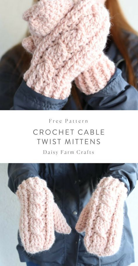 Free Pattern – Crochet Cable Twist Mittens