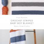 Free Pattern - Crochet Striped Baby Boy Blanket