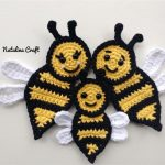 Free crochet pattern: Appliques - Bee (family of bees