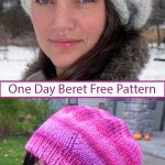 Free knitting pattern for One Day Beret - Instructions for quick hat that is ada...